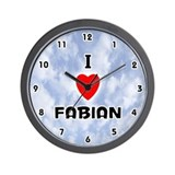 I Love Fabian (Black) Valentine Wall Clock