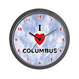 I Love Columbus (Red/Blk) Valentine Wall Clock