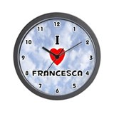 I Love Francesca (Black) Valentine Wall Clock