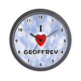 I Love Geoffrey (Black) Valentine Wall Clock