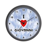 I Love Giovanni (Black) Valentine Wall Clock