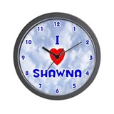 I Love Shawna (Blue) Valentine Wall Clock