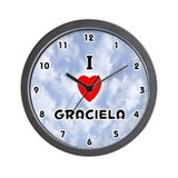 I Love Graciela (Black) Valentine Wall Clock