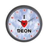 I Love Deon (Red/Blk) Valentine Wall Clock