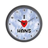 I Love Hans (Black) Valentine Wall Clock