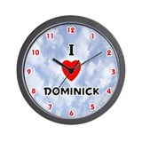 I Love Dominick (Red/Blk) Valentine Wall Clock
