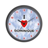 I Love Dominique (Red/Blk) Valentine Wall Clock