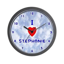I Love Stephanie (Blue) Valentine Wall Clock