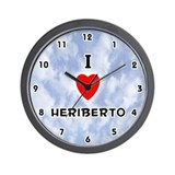 I Love Heriberto (Black) Valentine Wall Clock