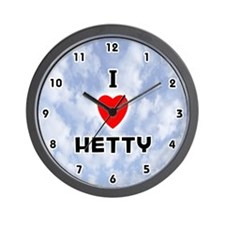 I Love Hetty (Black) Valentine Wall Clock
