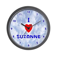 I Love Suzanne (Blue) Valentine Wall Clock
