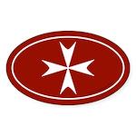 Maltese Cross Bumper Sticker -Red (Oval)