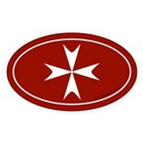 Maltese Cross Bumper Sticker -Red (Oval)