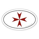 Maltese Cross Bumper Sticker -Red Graphic (Oval)