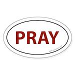 Pray Auto Bumper Sticker -Red Text (Oval)