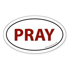 Pray Auto Bumper Sticker -Red Text (Oval)