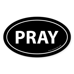 Pray Auto Bumper Sticker -Black (Oval)