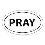 Pray Auto Bumper Sticker -White (Oval)