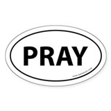 Pray Auto Bumper Sticker -White (Oval)