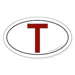Tau (Crux Commissa) Sticker -Red Image (Oval)