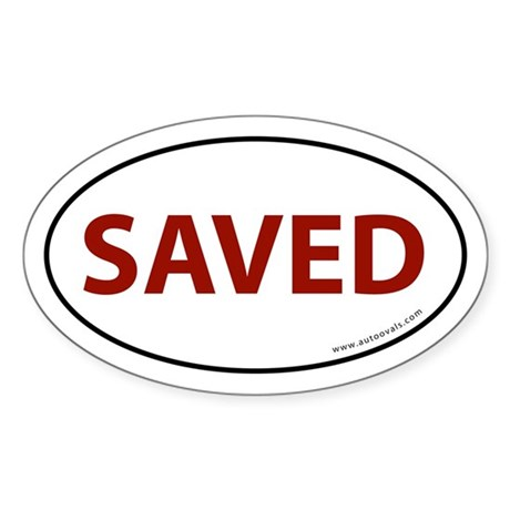 Saved Bumper Sticker -Red Letter (Oval)