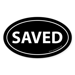 Saved Bumper Sticker -Black (Oval)