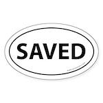 Saved Bumper Sticker -White (Oval)