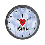 I Love Isiah (Black) Valentine Wall Clock