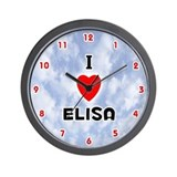 I Love Elisa (Red/Blk) Valentine Wall Clock