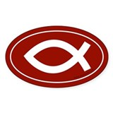 Fish Symbol Bumper Sticker -Red (Oval)