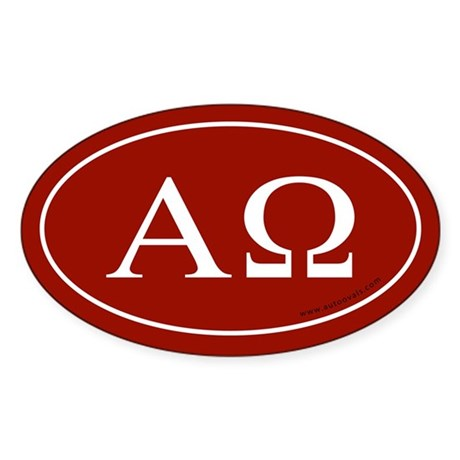 Alpha and Omega Sticker -Red (Oval)