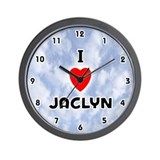 I Love Jaclyn (Black) Valentine Wall Clock