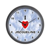 I Love Jacqueline (Black) Valentine Wall Clock