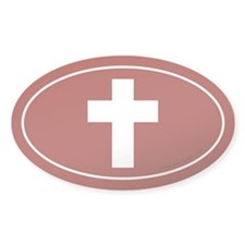 Cross (Crux Immissa) Sticker -Red (Oval)