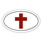 Cross (Crux Immissa) Sticker -Red Logo (Oval)