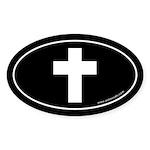 Cross (Crux Immissa) Sticker -Black (Oval)