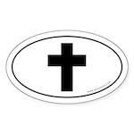 Cross (Crux Immissa) Sticker -White (Oval)