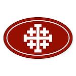 Jerusalem Cross Sticker -Red (Oval)