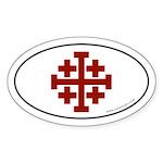 Jerusalem Cross Sticker -Red Logo (Oval)