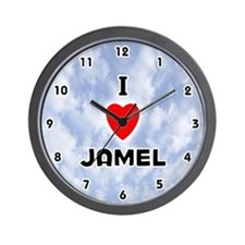 I Love Jamel (Black) Valentine Wall Clock