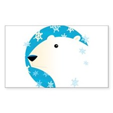 Winter Polar Bear Rectangle Decal