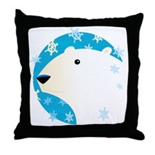 Winter Polar Bear Throw Pillow