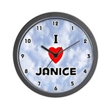 I Love Janice (Black) Valentine Wall Clock