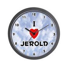 I Love Jerold (Black) Valentine Wall Clock