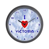 I Love Victoria (Blue) Valentine Wall Clock