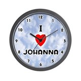 I Love Johanna (Black) Valentine Wall Clock