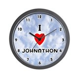 I Love Johnathon (Black) Valentine Wall Clock