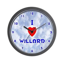 I Love Willard (Blue) Valentine Wall Clock