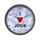 I Love Josie (Black) Valentine Wall Clock