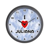 I Love Juliana (Black) Valentine Wall Clock